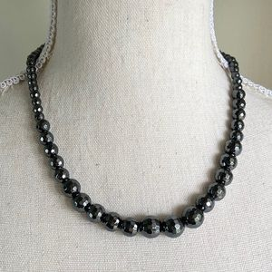 Graduated Hematite Faceted Stone Necklace